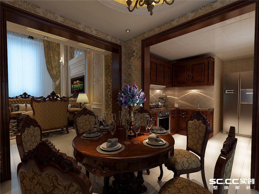 欧式 复式 客厅 卧室 书房 餐厅 收纳 黄色 150平 餐厅图片来自实创装饰晶晶在万锦城146平欧式风尚复式之家的分享