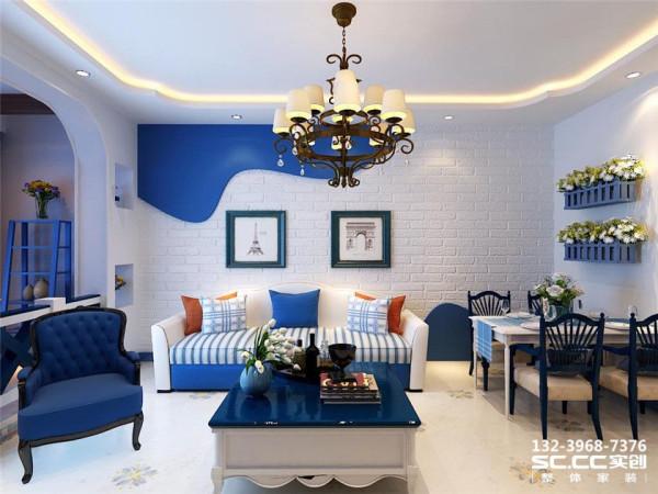 设计 理念文化石白色与蓝色石膏板的搭配自然淳朴,电视柜没有用成品,而是采用砌筑的方式,外饰马赛克,更具时尚感,使得地中海又增加了新的视觉效果。 主材 说明福乐阁 金意陶
