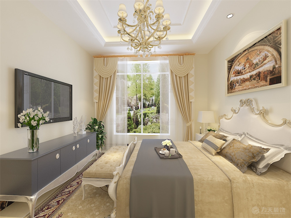 欧式 二居 白领 80后 小资 卧室图片来自阳光力天装饰糖宝儿在欧式风格   华侨城 101㎡两居的分享