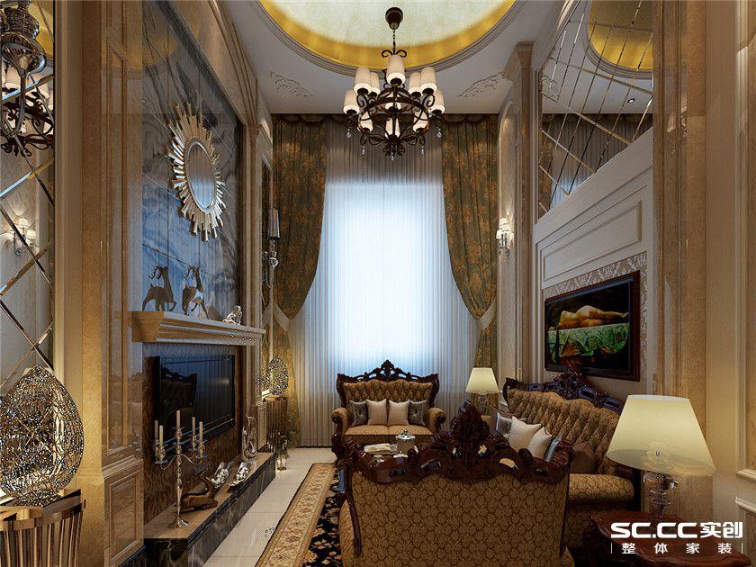 欧式 复式 客厅 卧室 书房 餐厅 收纳 黄色 150平 客厅图片来自实创装饰晶晶在万锦城146平欧式风尚复式之家的分享