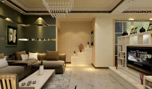 布艺沙发、简易收纳电视柜、充满现代时尚气息的吊灯。