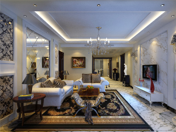 设计理念:客厅的整体效果凸显了他的高端大气,石材的运用以及沙发背景墙上的菱形玻璃让整个客厅更加宽敞大气有档次。 亮点:菱形玻璃的运用让本就很阔的空间变得更加大气。
