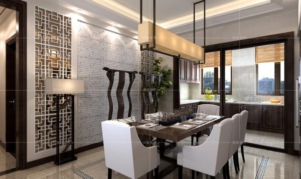 """棱角分明的灯饰与餐桌体现出中国传统文化中""""无规矩不成方圆""""的理念"""