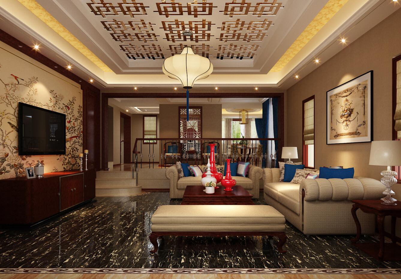 南郊中华园 别墅装修 别墅设计 新中式风格 腾龙设计 客厅图片来自设计师曹晖在南郊中华园别墅装修新中式设计的分享