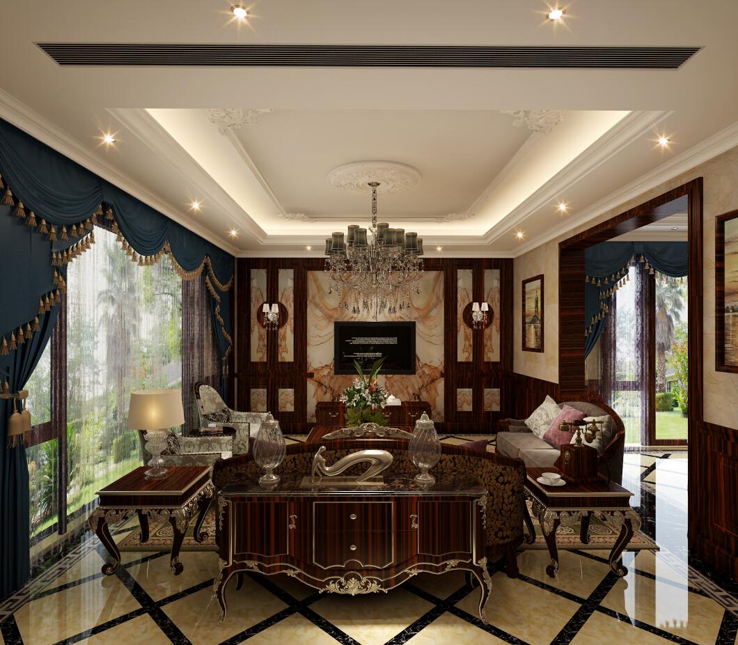 印象欧洲 别墅装修 别墅设计 美式风格 腾龙设计 曹晖作品 客厅图片来自设计师曹晖在印象欧洲别墅装修美式风格设计的分享