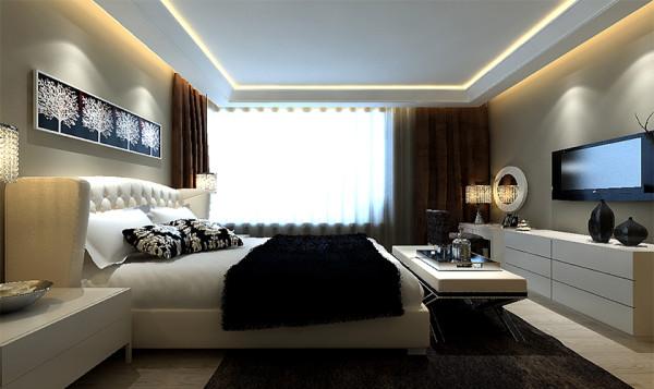 宽大的床榻搭配造型简洁的电视柜,增添了温馨的暖意