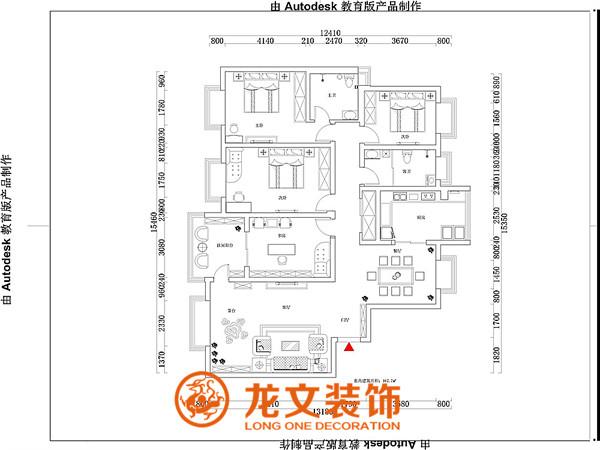 中州大学家属院-167平四室两厅-新中式-装修效果图-龙文装饰