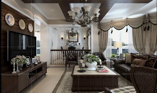 深棕色木质电视柜搭配皮质沙发,让整体空间更显稳重大气