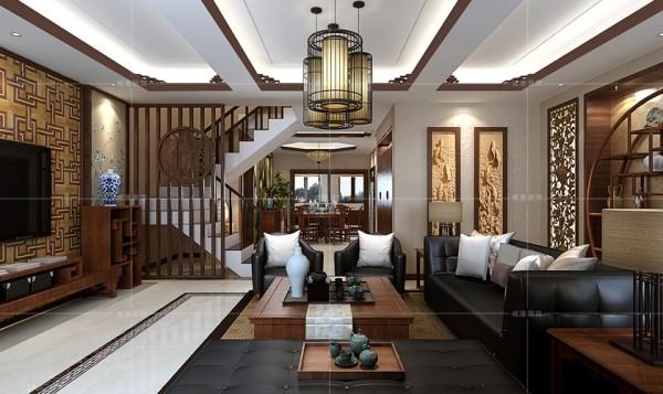 木质栅栏隔断将楼梯间与客厅分隔开,使空间分布错落有致,更加合理