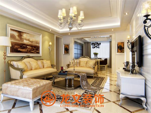 客厅墙面造型很好的扩大了空间的感受,中州大学家属院-102平两室两厅-欧式简约-装修效果图  龙文装饰VIP咨询:185-3871-7376