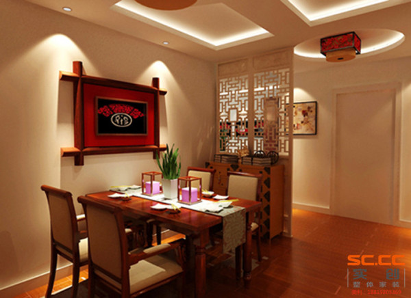 餐厅中式风格餐厅设计理念:灯光家具配饰整体的色调映衬出幽静的就餐环境。 亮点:餐桌上的装饰画起到画龙点睛的作用。