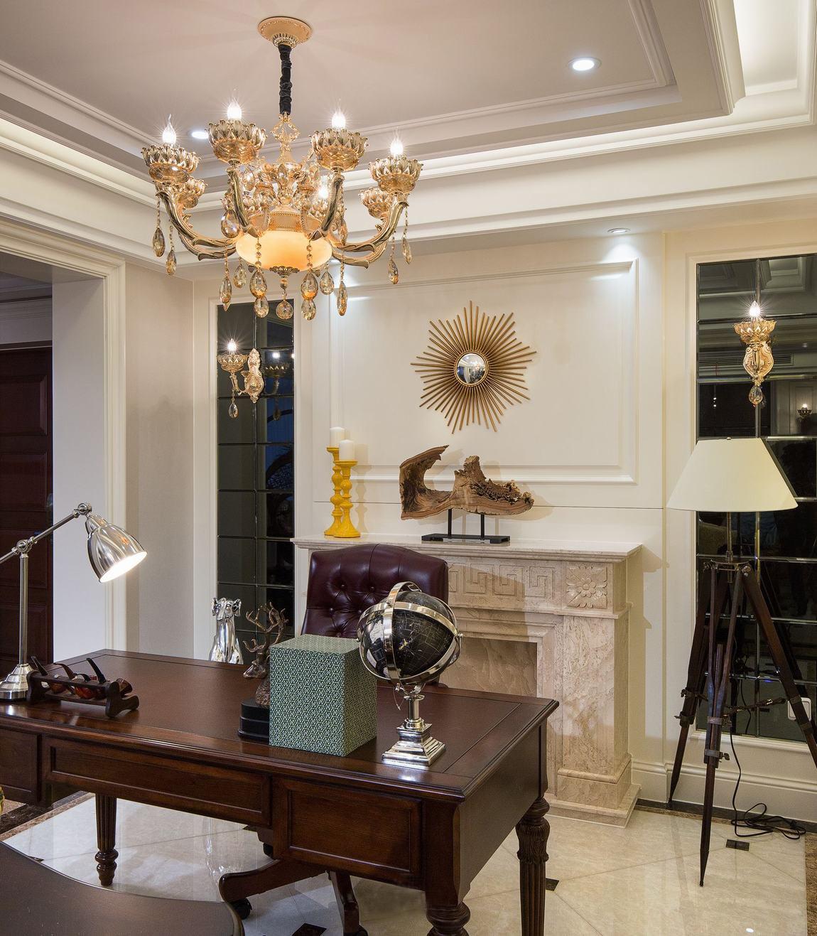 新古典 别墅 白领 80后 小资 收纳 书房图片来自一道伍禾装饰设计师杨洋在甜美优雅之新古典-格林云墅的分享