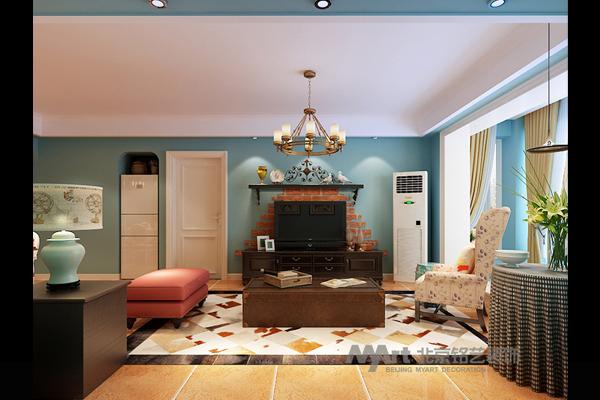 客厅图片来自北京铭艺-Myart-大飞在紫晶悦城-现代美式-126的分享