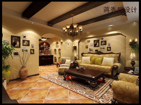 客厅是一个家庭装修中的灵魂,肩负着整个家庭风格的重任。影视墙采用瓷砖与木质雕花的组合。拱形造型相呼应。吊顶采用木质包梁及石膏板拉缝造型。餐厅是文化石和实木酒柜的碰撞。