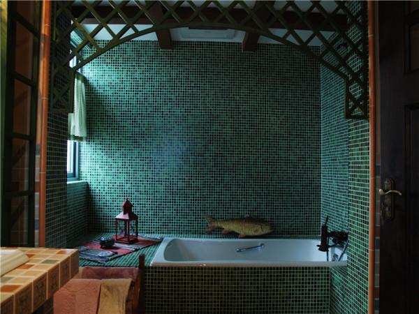 浴室:色彩多以自然色调为主,绿色、土褐色较为常见,特别是墙面色彩选择上,自然、怀旧、散发着质朴气息的色彩成为首选。