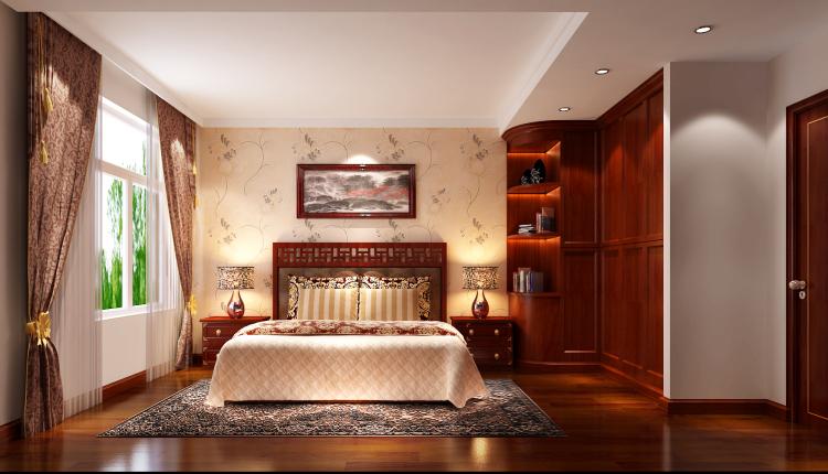 三居 新中式 公寓 卧室图片来自高度国际装饰宋增会在长滩一号120平米新中式的分享