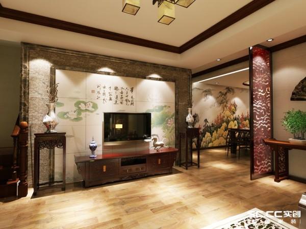 用石材做收边,圣洁高雅的荷花做背景墙的主题,吊顶再搭配上深色木质线条 ,传达中国当代文化的基础上不失传统风格文化意义