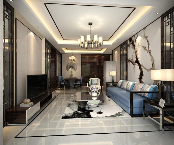 客厅电视墙与沙发墙面造型上形成一个协调统一的整体。色调上采取了传统中式的暖色调,使空间比较温馨且充满诗意。