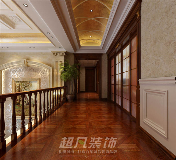 整个走廊设计重点在于顶部设计,米黄色的弧形装饰,白色的造型设计,时尚浪漫的同时又不失温馨与尊贵感。