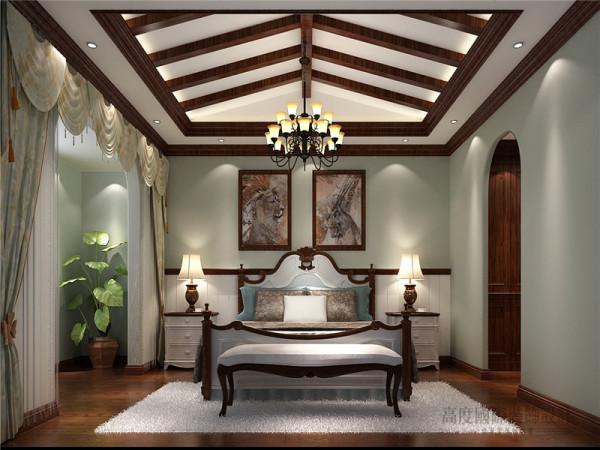 很典型的美式乡村的卧房,只不过在设计上,更多偏向于简洁样式,摒弃了传统厚重的家具布置,透露出轻盈的美感。