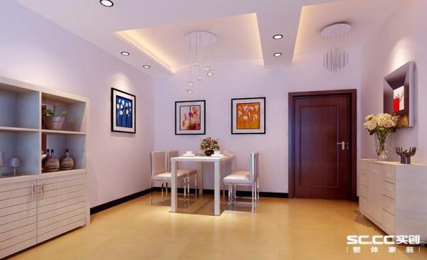 餐厅简约的装饰画,简约的地面砖装饰,简约的条形吊顶,通过灯光来表现出温馨的就餐环境,一家有坐下来,还是其乐融融的。