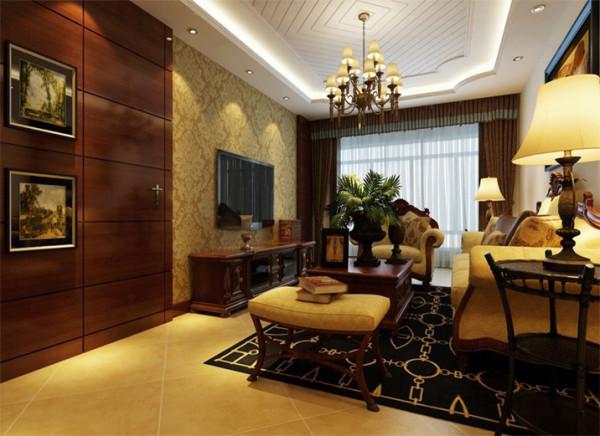 客厅整体突显出一种高端大方的贵族之感,电视背景墙并不做太多的设计,只用花纹壁纸突显品位。利用胡桃木制作的隐藏门给空间增添了神秘感。
