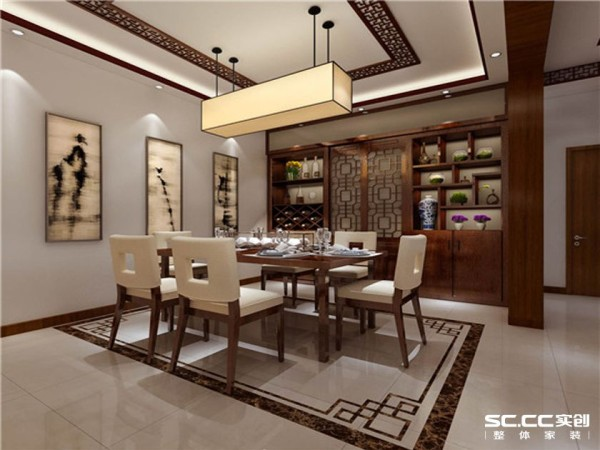 餐厅风格以中式为主,亮色的大地砖搭配棕色木储物柜,既增加了储物功能又美观。