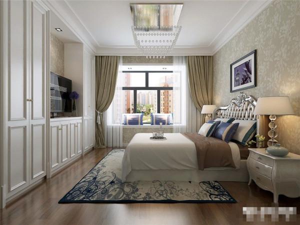 卧室设计以舒适温馨为主,顶面造型以简洁的石膏线条饰面,米黄暗花壁纸配合白色混油家具浪漫温馨,窗口外飘窗的设计既实用又美观。