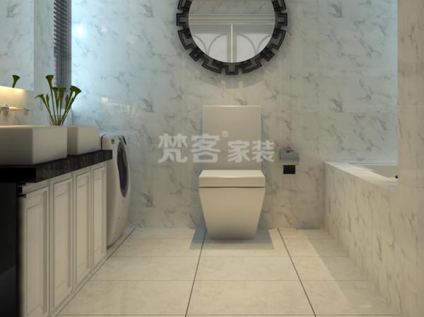 卫生间运用了黑白色为基调,简约大方,也是现代风范的演化,其风格有一定的混杂,正是这个特点得到越来越多人的喜爱。