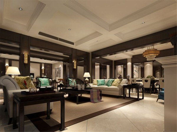 客厅的设计,中国风的椅子与现代沙发相辅相成,彩色的靠包点亮整个空间
