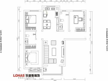 天河悦城129平三室装修效果图
