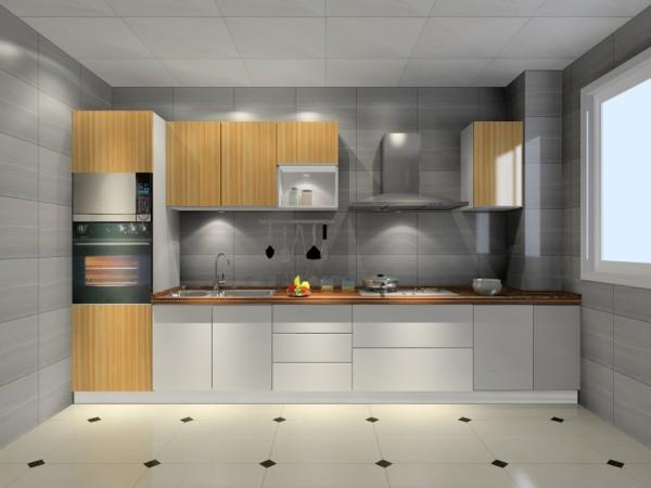 采用了亮白面板与仿木纹色面板相结合,意在营造出自然且富有大自然气息的厨房氛围,一字型的柜体布局,不同柜体的配套,充分显示强大的收纳功能,在舒适性上也极为考究。