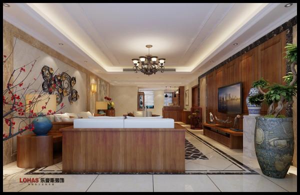 客厅:中央空调,吊顶整体简洁。