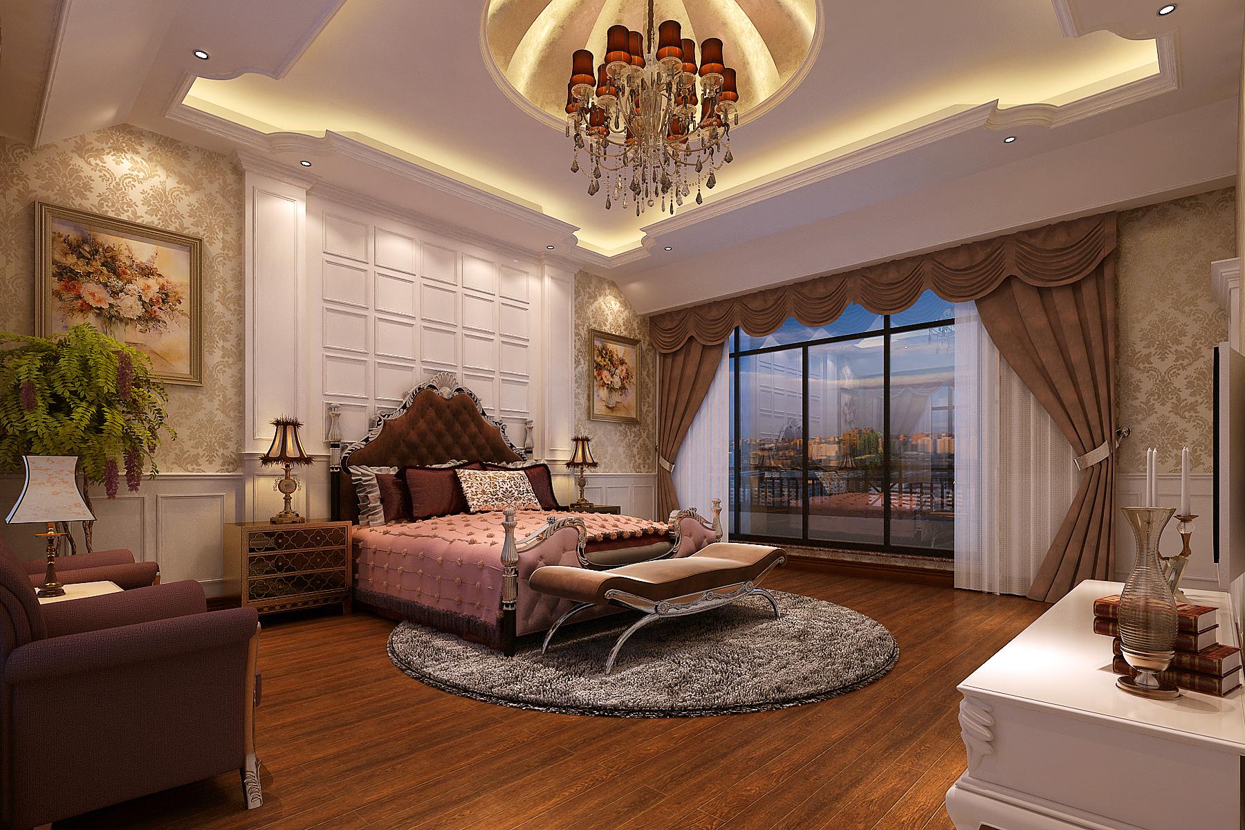 天伦庄园 大宅 别墅 装修 欧式 卧室图片来自夏曼在天伦庄园 226平大宅 欧式装修的分享