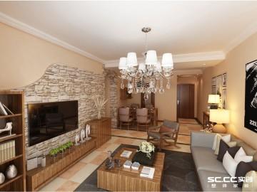 115平美式三居装修设计
