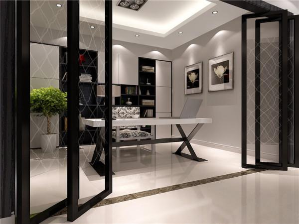 白色的书房本身就显得雅致而宁静,黑白花纹相间的椅子是书房里的亮点,也是书房里的色彩点缀,原本淡雅的书房里添加了活力的气息,使书房更具有时尚的现代都市感。