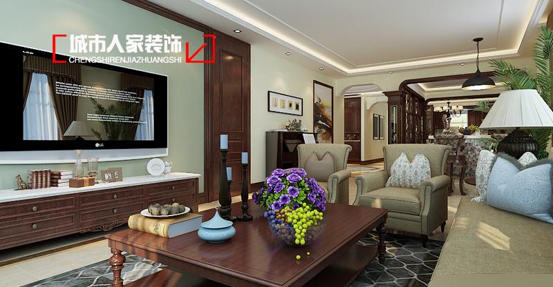 中式风格 家装公司 装修设计 万国城moma 城市人家 客厅图片来自太原城市人家原卯午在万国城moma244平米中式装修设计的分享