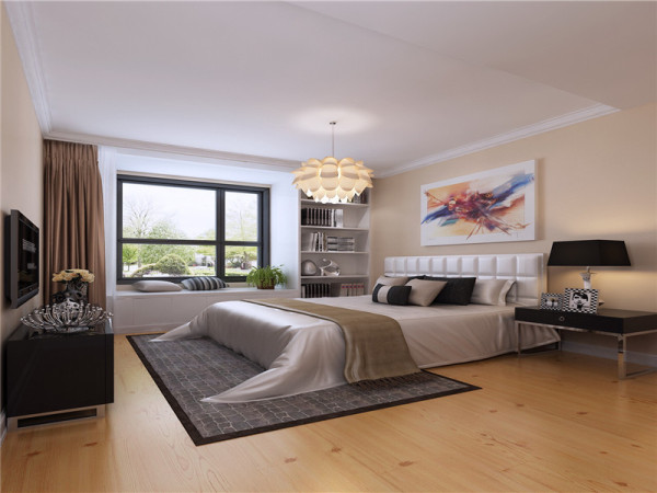 现代简约风格卧室设计讲究做到功能齐全,线条明快就可以了,不要复杂的天花,不要复杂的墙纸,不要复杂的吊灯,不要复杂的衣橱,取而代之的是简洁的家具布置和明快的色调。