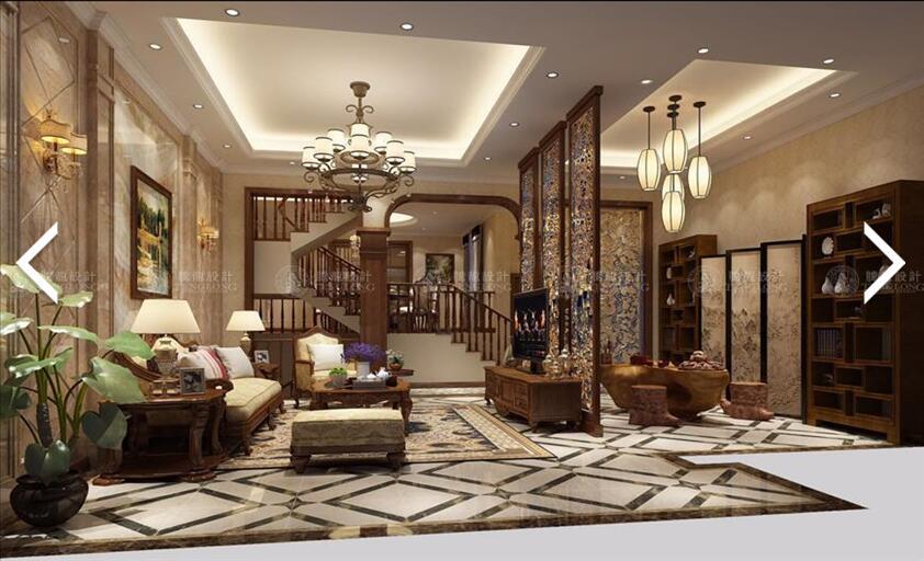 南郊中华园 别墅装修 别墅设计 美式风格 腾龙设计 劳纳作品 客厅图片来自腾龙设计在南郊中华园别墅装修美式风格设计的分享