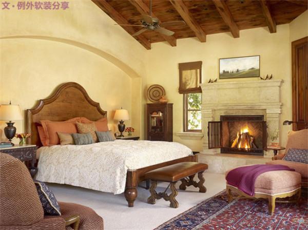 4、软黄色,这种软黄橙混合能够添加卧室的温馨氛围。卧室所有的墙壁、甚至天花板都可以使用这种色彩,再配上木元素,轻松打造理想居室。