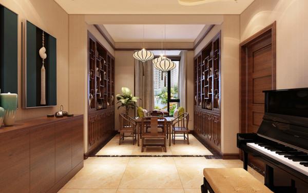 餐厅设计方案,餐厅两侧设计酒柜。增加储酒的功能。