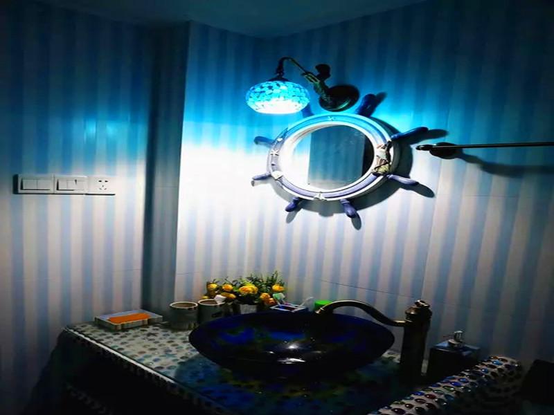 地中海 混搭 三居 白领 小资 客厅 卫生间图片来自沙漠雪雨在120平米地中海混搭浪漫婚房的分享
