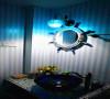 卫生间用蓝白条纹的墙砖。