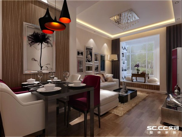 黑色的餐桌,红白穿插的真皮座椅,白色的烤瓷餐具,晶莹剔透的红酒杯,错落有致风格别致的餐厅,在加之餐桌背景墙上镶银框雅致挂画把餐厅就餐的现代 奢华 典雅氛围渲染的淋漓尽致!