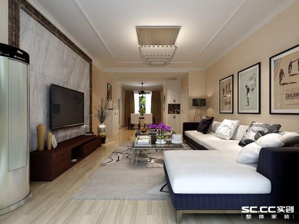 客厅采用黄白为主色调,浅黄色暖暖的墙漆,搭配墙面大理石纯洁背景墙,让空间更显干净大气。