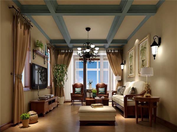 客厅设计讲究简约大气、线条洗练。淡色系墙面、天花板、沙发与深色系的茶几、沙发后背壁画相得益彰,赋予空间平衡之美,整个空间看起来,却又简而不凡。