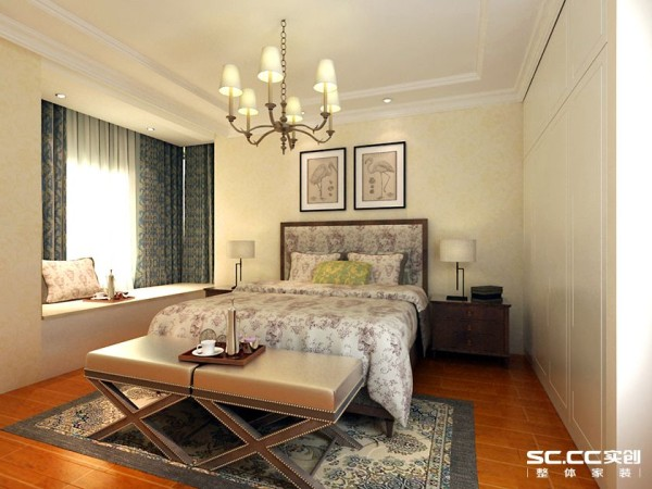 主卧设计简单舒适,新中式的家具和灯具搭配又让空间颇有古色古香的风韵。