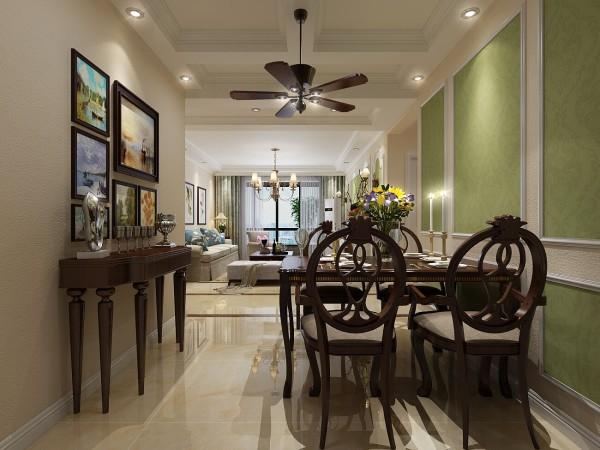 餐厅顶部简单的白色假梁吊顶设计,添加美式装修设计元素。
