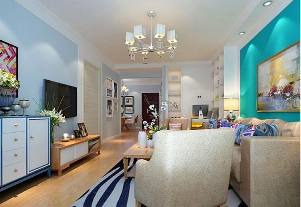 客厅现代风格装修效果图 实创装饰沈阳