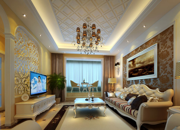 舒适欧式客厅 为打造温馨舒适的客厅,客厅采用暖色调的设计,暖黄色墙漆,加上深褐色的窗帘,增加空间温馨。